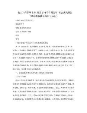 电大工商管理本科 迪宝乐电子有限公司 社会实践报告(基础数据模块的实习体会).doc