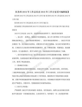 医务科201X年工作总结及201X年工作计划【可编辑版】.doc