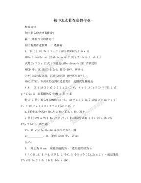 初中怎么检查寒假作业-.doc