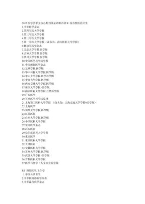 2012医学类核心期刊目录.doc
