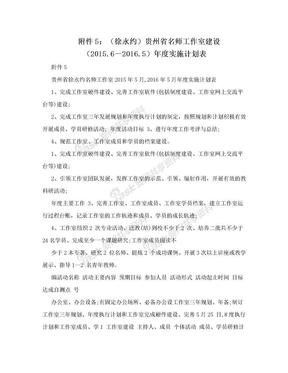 附件5:(徐永约)贵州省名师工作室建设(2015.6-2016.5)年度实施计划表.doc