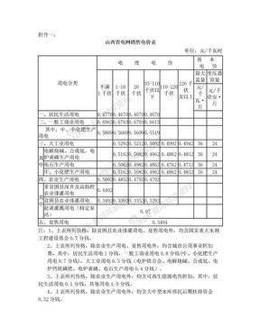 山西省电网销售电价表2017年.doc