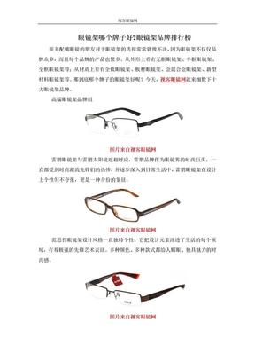 眼镜架哪个牌子好眼镜架品牌排行榜.doc