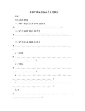 甲醇厂泄漏事故应急救援预案.doc