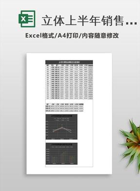 立体上半年销售业绩分析表Excel模板.xlsx