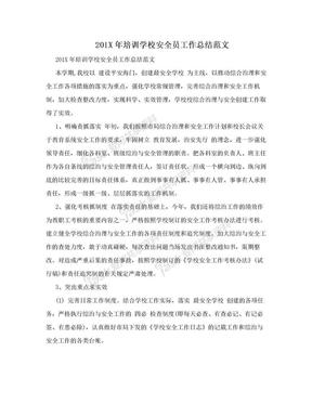 201X年培训学校安全员工作总结范文.doc