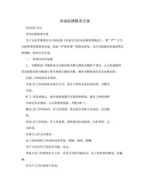 劳动纪律检查方案.doc