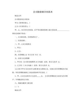 公司股份制合同范本.doc