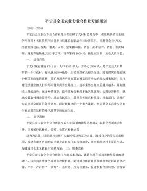 平定县金玉农业专业合作社发展规划.doc