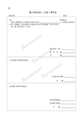 工程表格A2   施工组织设计(方案)报审表.doc