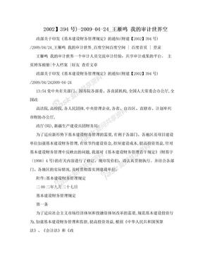 2002】394号)-2009-04-24_王雁鸣 我的审计世界空.doc