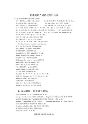 初中英语介词的使用口诀表