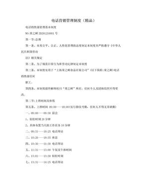 电话营销管理制度(精品).doc