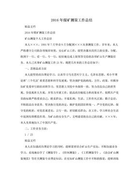 2016年煤矿测量工作总结.doc