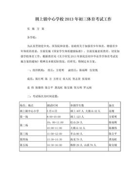 圳上镇2013年初中毕业升学体育考试工作实施方案.doc