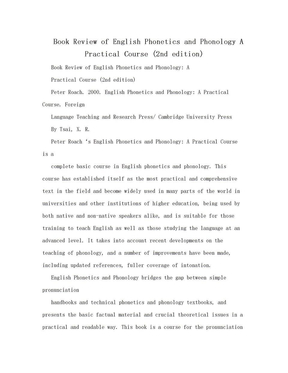 Book Review of English Phonetics and Phonology A Practical Course (2nd edition).doc