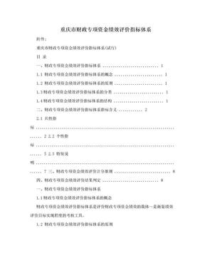 重庆市财政专项资金绩效评价指标体系.doc