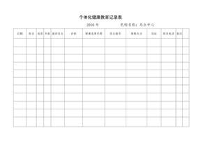 个体化健康教育记录表