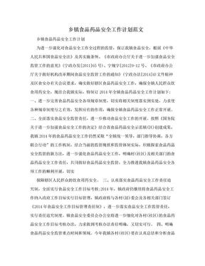 乡镇食品药品安全工作计划范文.doc
