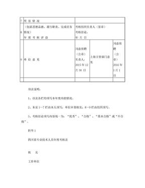2015年度四川省专业技术人员年度考核表.doc
