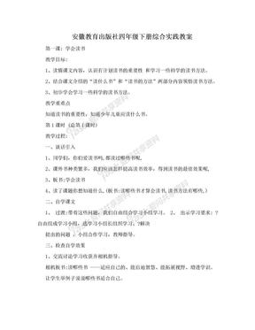 安徽教育出版社四年级下册综合实践教案.doc