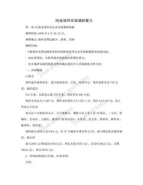 河南郑州市场调研报告.doc