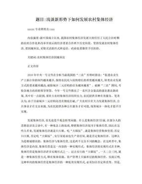 浅谈新形势下如何发展农村集体经济.doc