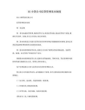 XX小贷公司信贷管理基本制度.doc