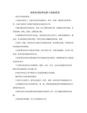 内科各类医师及护士岗位职责.doc