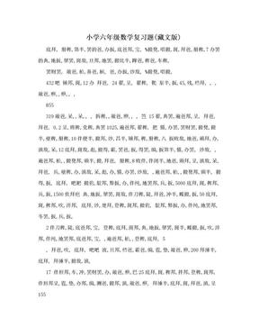 小学六年级数学复习题(藏文版).doc