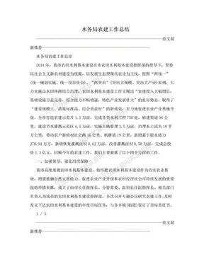 水务局农建工作总结.doc