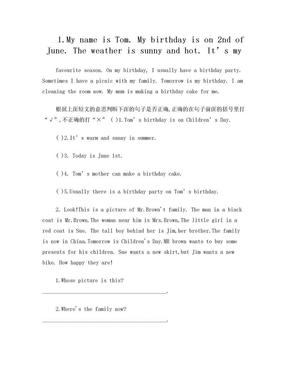 [小学_三年级英语]小学英语小短文和阅读理解.doc