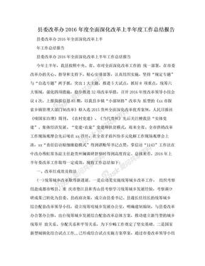县委改革办2016年度全面深化改革上半年度工作总结报告.doc
