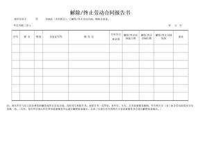 解除终止劳动合同报告书.doc