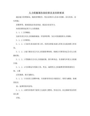 人力资源部各岗位职责及任职要求.doc