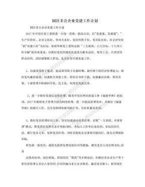 园区非公企业党建工作计划.doc