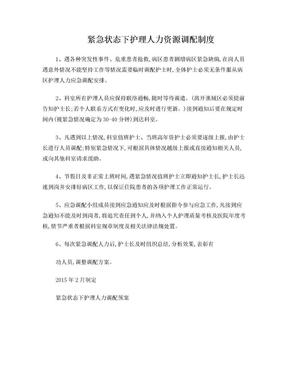 紧急状态下护理人力资源调配制度.doc