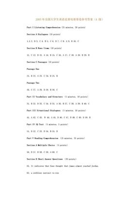 2005年全国大学生英语竞赛初赛赛卷参考答案.doc