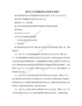 租赁公司节能减排项目贷款审查报告.doc