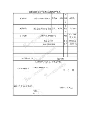 丽水市政府采购中心政府采购方式申报表.doc