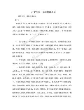 村卫生室一体化管理总结.doc
