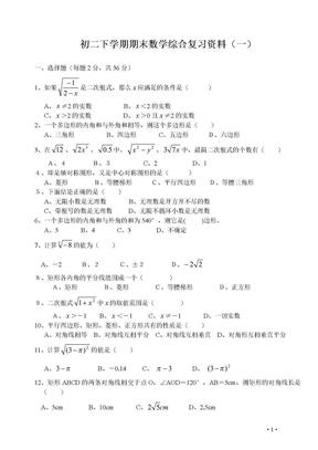 初二数学下册期末复习14套.doc