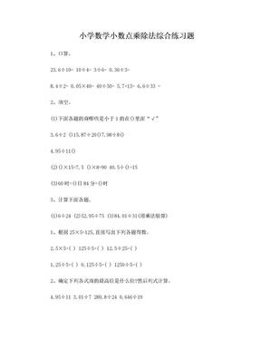 小学数学小数点乘除法综合练习题.doc