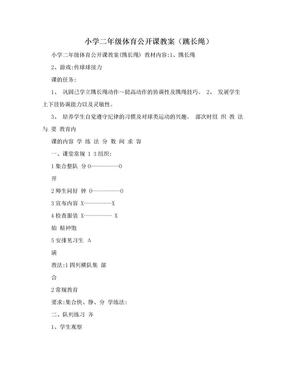 小学二年级体育公开课教案(跳长绳).doc