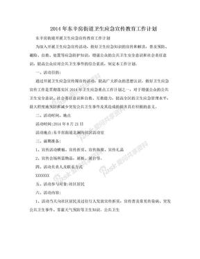 2014年东辛房街道卫生应急宣传教育工作计划.doc