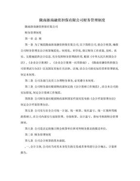 陇南浙商融资担保有限公司财务管理制度.doc