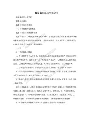 魏振瀛的民法学笔记全.doc