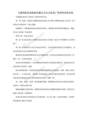 大唐国际发电股份有限公司火力发电厂经济性评价办法.doc