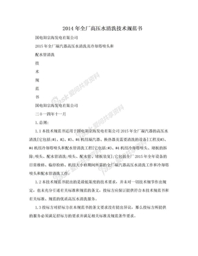 2014年全厂高压水清洗技术规范书.doc