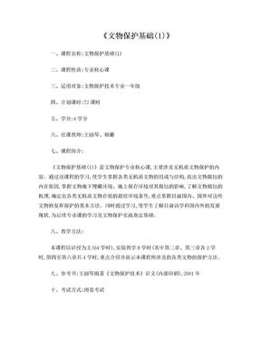 文物保护基础-西北大学文化遗产学院.doc